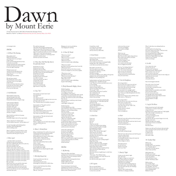 Mount Eerie - Dawn lp