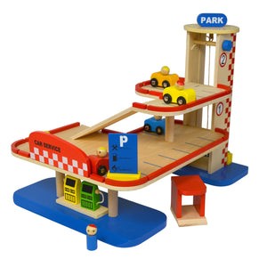 wooden toy parking garage with kiosk