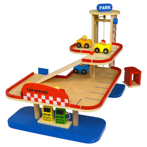 wooden toy full service parkade