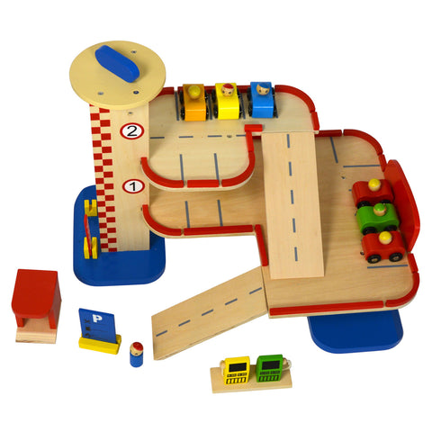 six car wooden toy parking garage