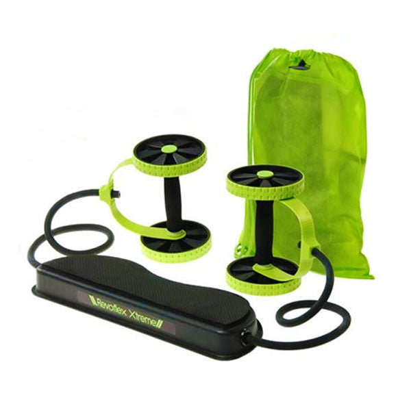 Revoflex Xtreme Double Ab Wheel Roller Resistance Band Abdominal Waist Slimming Core Exerciser