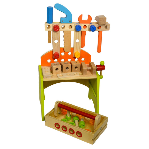 Wooden Toy Diy Workbench Learning Pretend Play Tool Set
