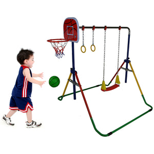 JUNGLE KIDS Preschool Tots Gymnastics Horizontal Bar with Gym Rings Swing Set and Basketball Net Hoop and Balls
