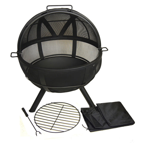 Glow Master Fire Pit Sphere 30 Inch Diameter with Spark Protection Screen