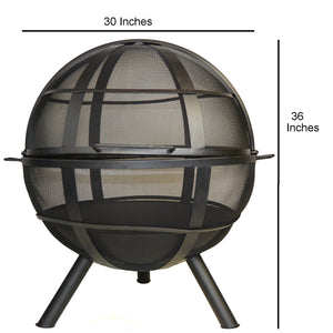 Glow Master Portable Fire Pit Sphere 30 Inch Diameter with Spark Protection Screen