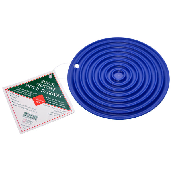 Kitchen Supply Super Silicone Hot Pad / Trivet 7.5 inch Blue