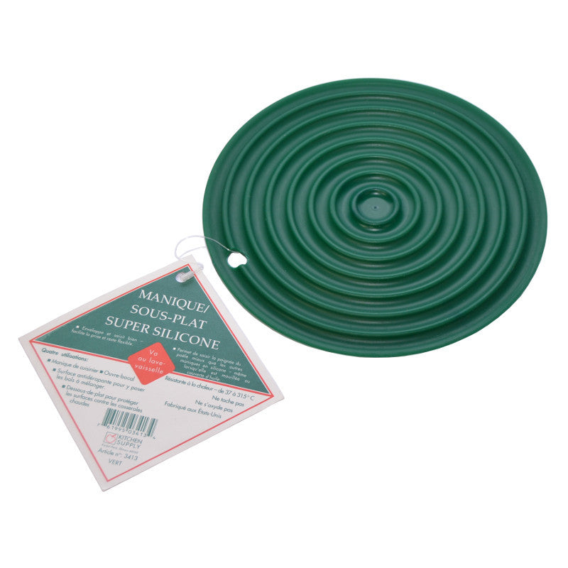 Kitchen Supply Super Silicone Hot Pad / Trivet 7.5 inch Green
