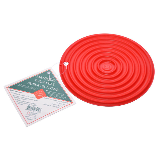 Kitchen Supply Super Silicone Hot Pad / Trivet 7.5 inch Red