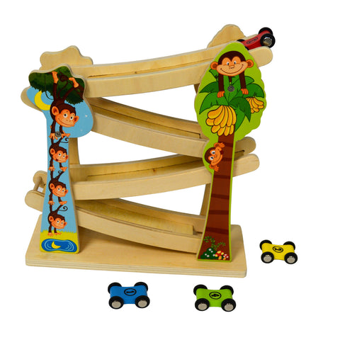 Wooden Toy Zig Zag Loop Miniature Flip Car Racer on 4-Level Racing Ramp