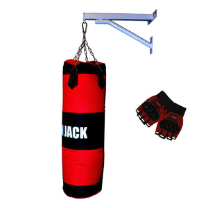 Iron Jack Canvas Punching Bag White Frame with MMA Gloves