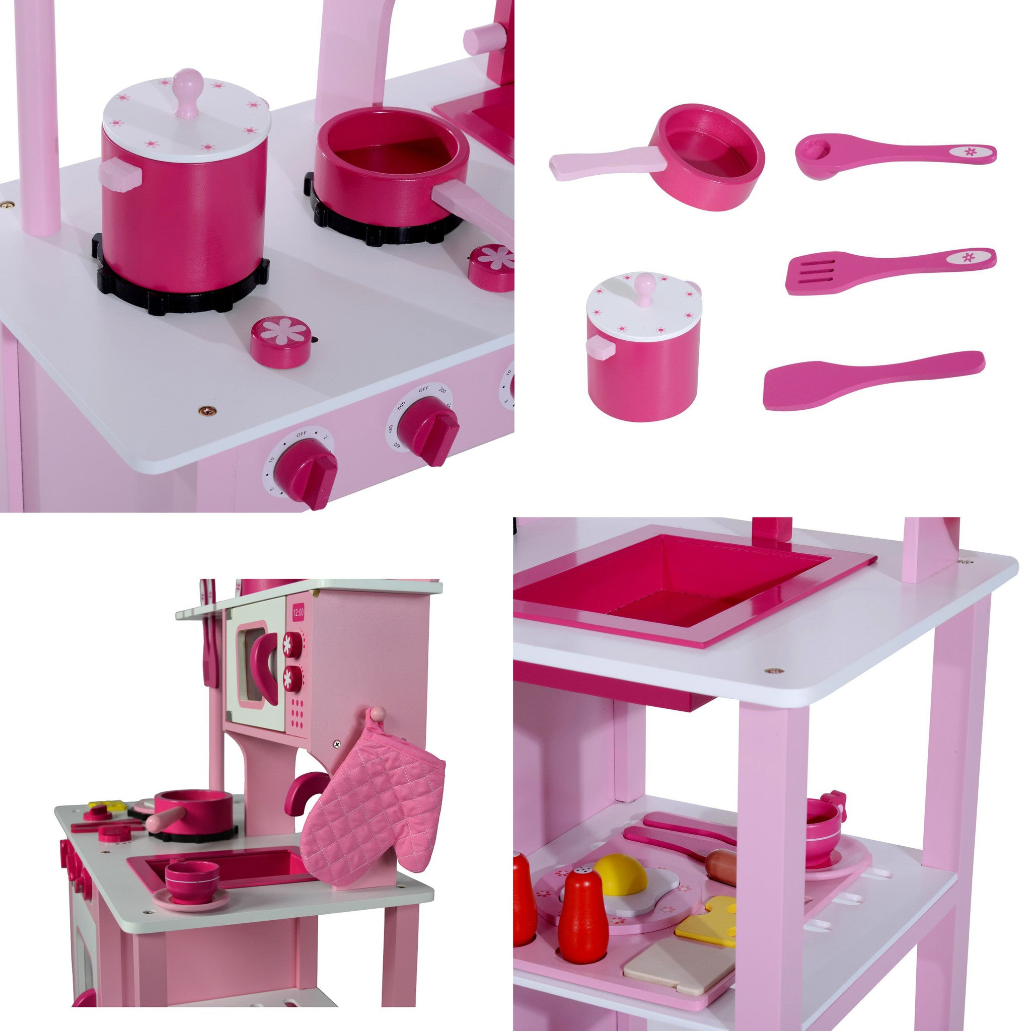 Wooden Kitchen Pretend Play Toy Stove Oven Microwave Cooking Set