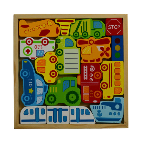 Educational Learning Wooden Toy Transportation Vehicle Box Set