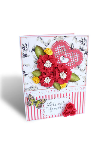 Handmade Red Flowers & Heart Forever Yours Greeting Card , Greeting Card - Kraftnation, Kraftnation