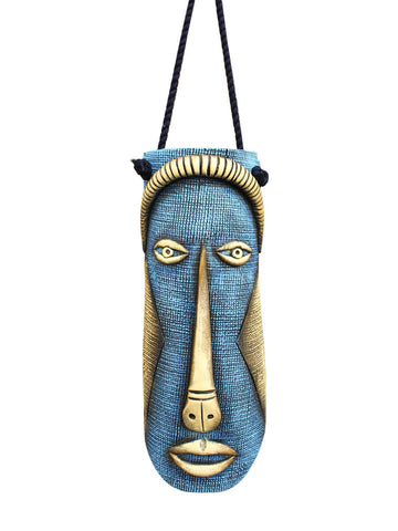 Terracotta Blue Lagoon Wall Hanging Tribal Mask with Rope