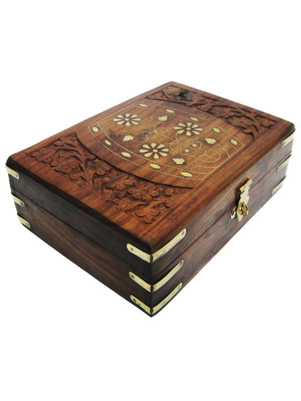 Wooden Carved Flower Pot Brass Inlay Box