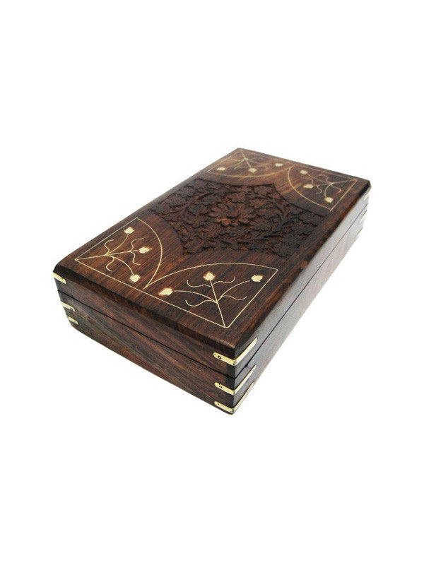 Wooden Carved Brass Inlay Box