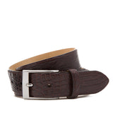Matte Crocodile Leather Belt ##Dark Brown