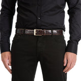Shining Crocodile Leather Belt ##Dark Brown