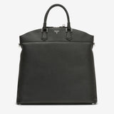 "North/South Tote Bag ""Leisure 14"", Calf leather ""Cachemire"" Collection ##Black"
