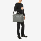 Double Gusset Briefcase, Calf Leather, Evoluzione Collection ##Blue Navy