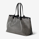 Secret bag, Lamb Nappa and Calf Leather, Mosaico/Seta Collection ##Black/Off White