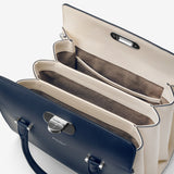 Villa Handbag In Seta Leather ##Navy Blue/Cream