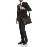 Single Gusset Briefcase, calf leather Stepan/Evoluzione ##Chocolate Brown/Black