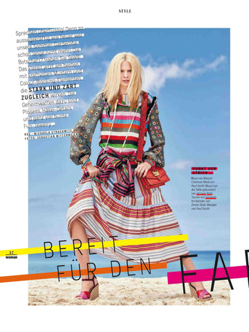 Serapian 1972 bag appearing on first page of WOMAN Austrian Fashion Magazine