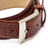 Matte Crocodile Leather Belt ##Cognac