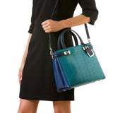 Meliné Bag, Small, Elaphe ##Petrol/Klein Blue