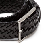 Woven leather belt ##Black