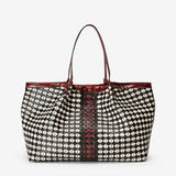 Secret bag, Lamb Nappa and Calf Leather With Elaphe Insert, Mosaico/Seta Collection ##Black/Off White/Claret