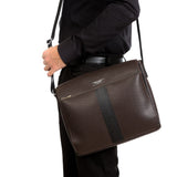 Messenger Bag with Flap, Stepan/Evoluzione ##Choco/Black