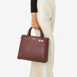 Small Meliné bag, calf leather, Seta Collection ##Claret