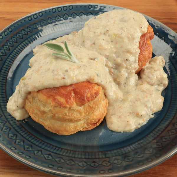 Biscuits and Scrapple Gravy