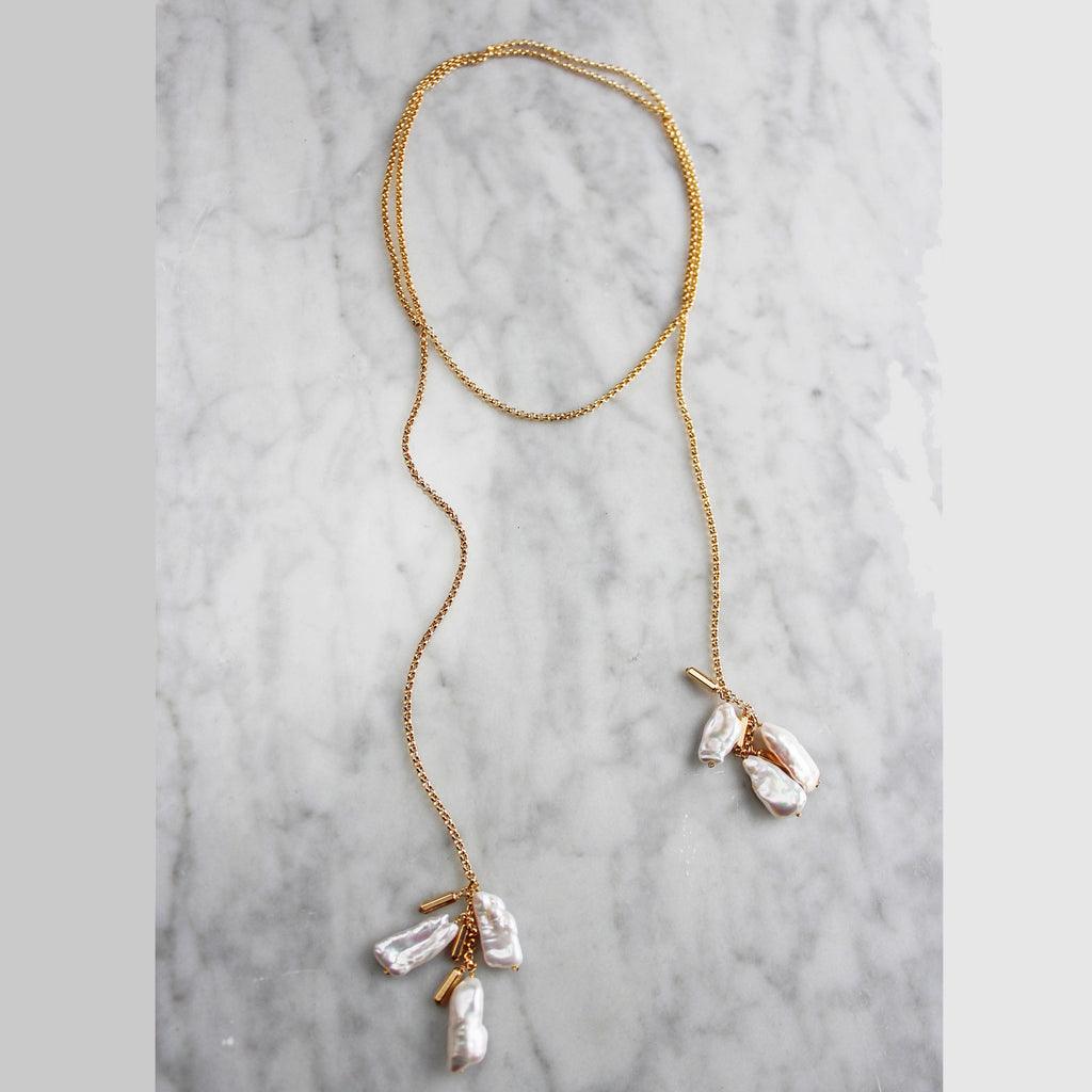 Biwa Cluster Wrap Necklace