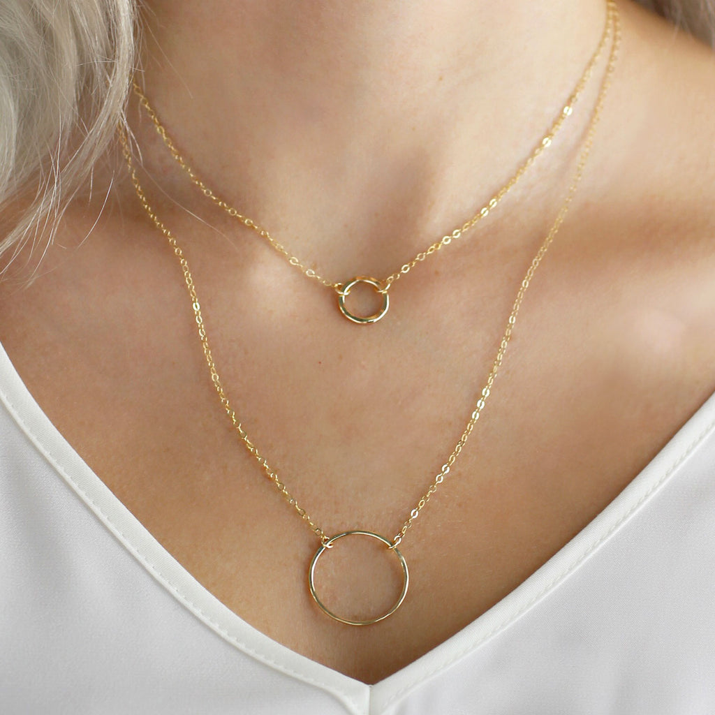 Petite Hammered Ring Necklace