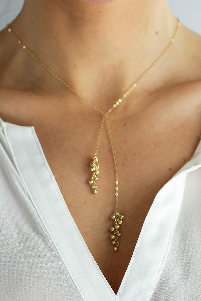 Gold Dust Tie Lariat Necklace