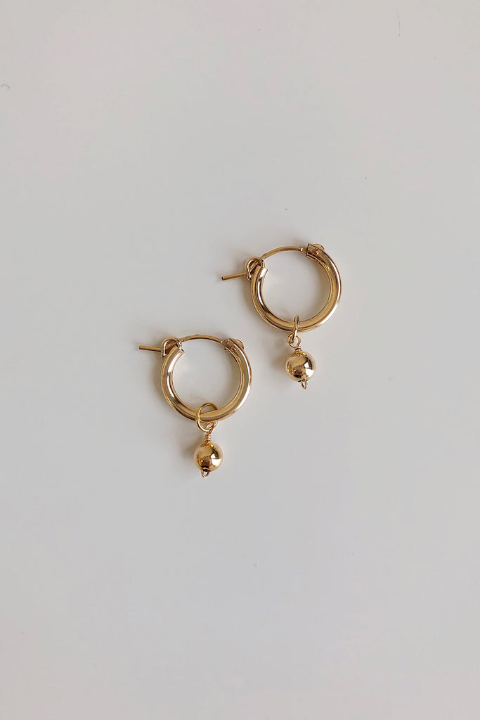 Gold Dust Solitaire Mini Hoop Earrings