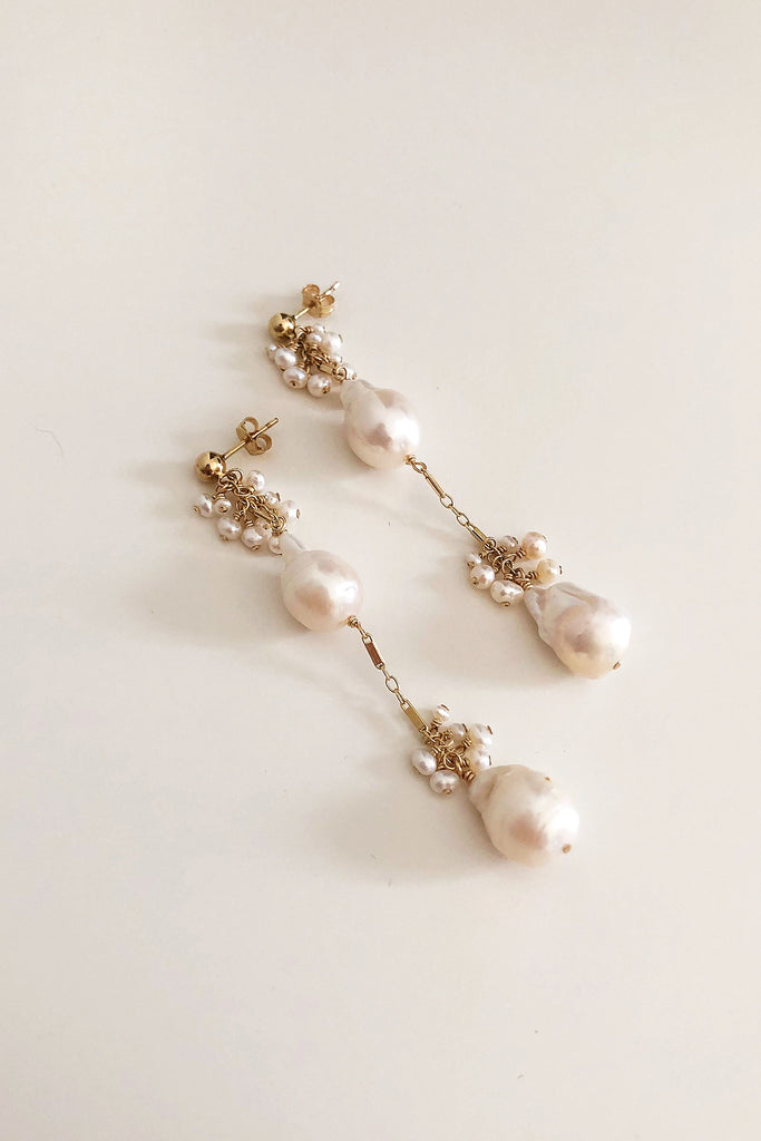 Lumiere Double Baroque Freshwater Pearl Earrings