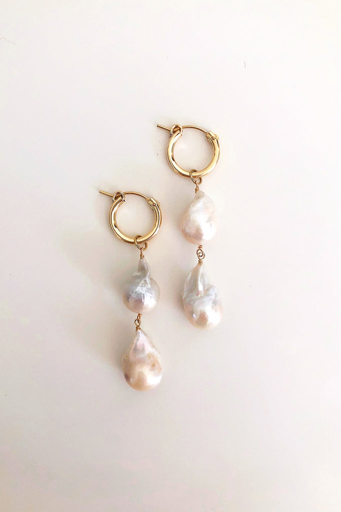 Lustre Double Baroque Pearl Mini Hoop Earrings