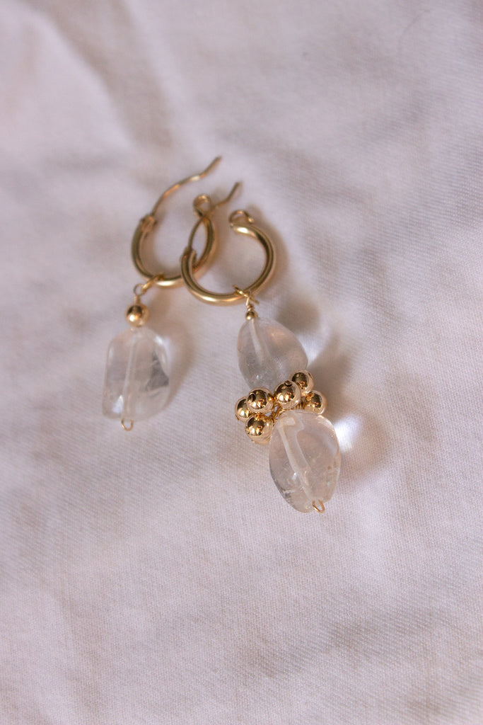 Mismatched Polished Quartz Eyelet Earrings