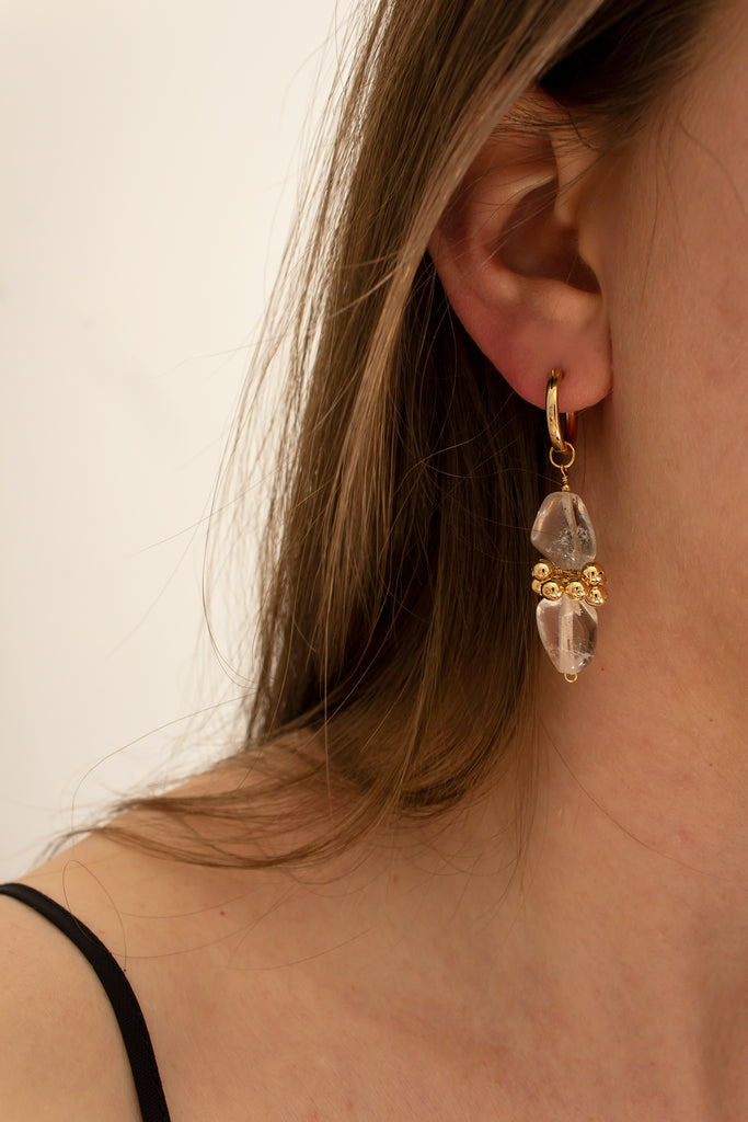 Mis-Matched Polished Quartz Eyelet Earrings