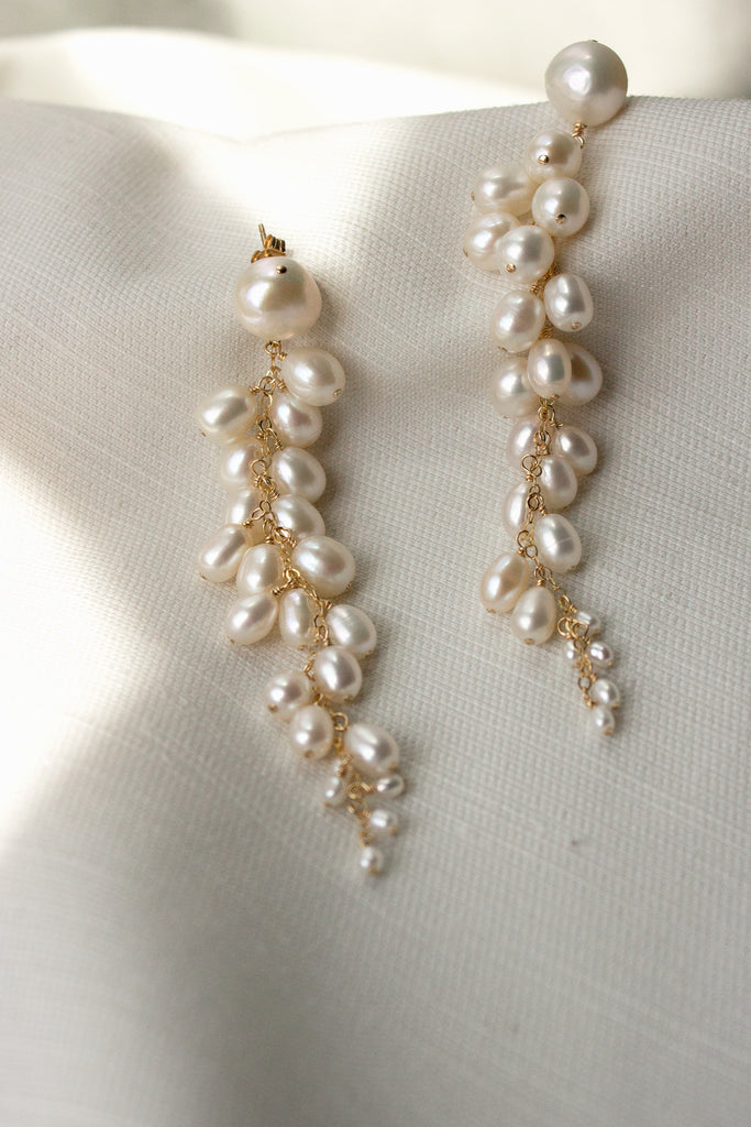 Sereine Long Pearl Cluster Post Earrings