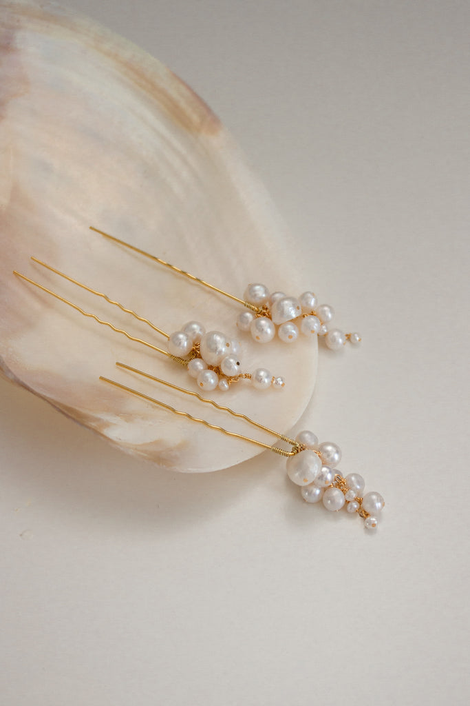 Sereine Pearl Tendril Hair Pins - set of 3