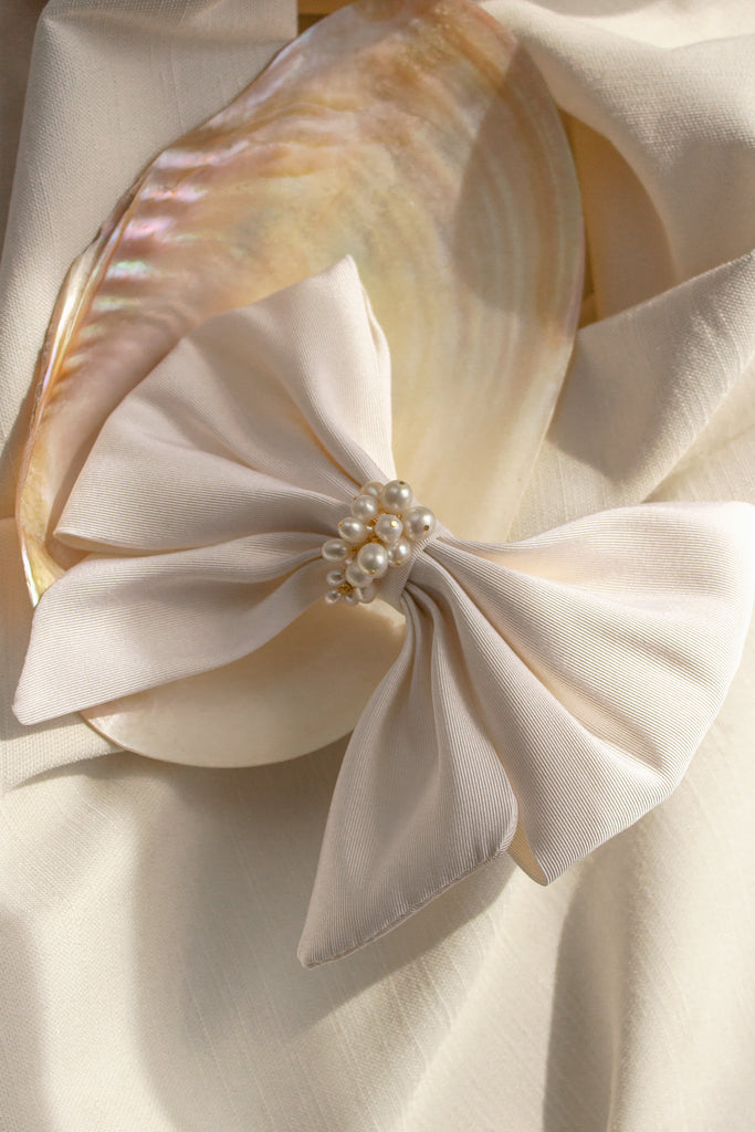 Margot Pearl and Silk Bow Barrette