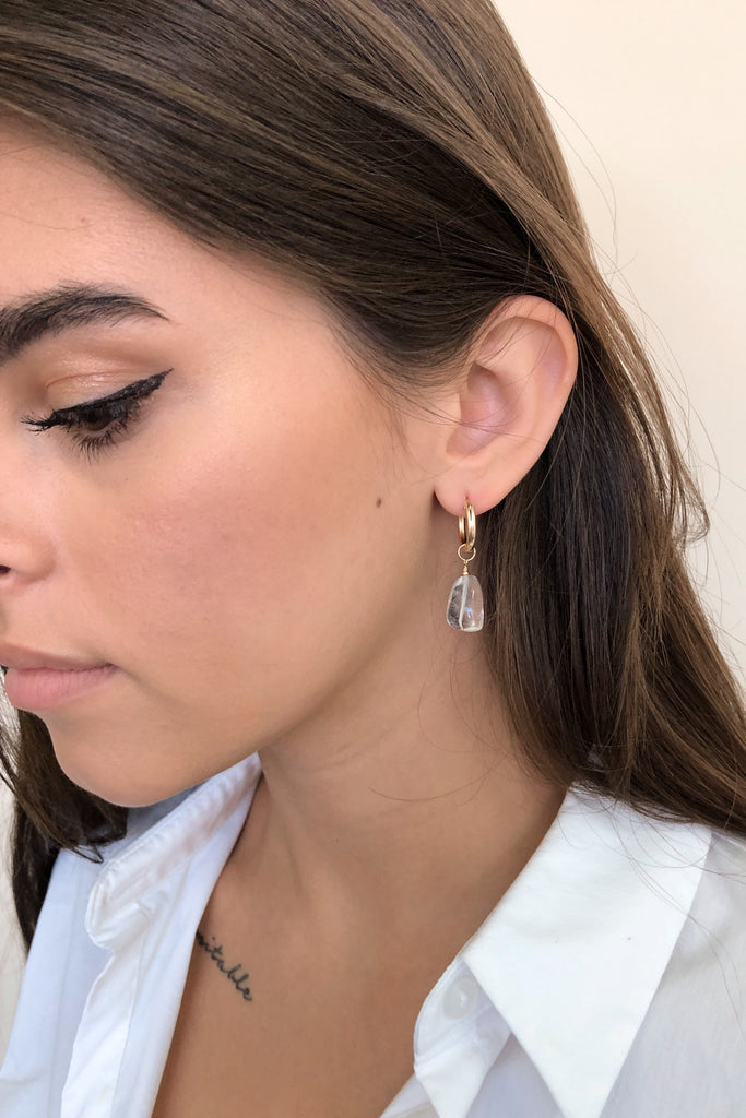 Polished Quartz Mini Hoop Earrings