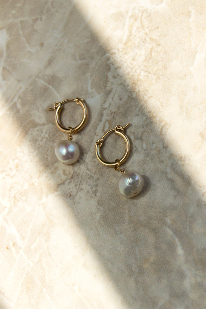 Baroque Pearl Mini Hoop Earrings
