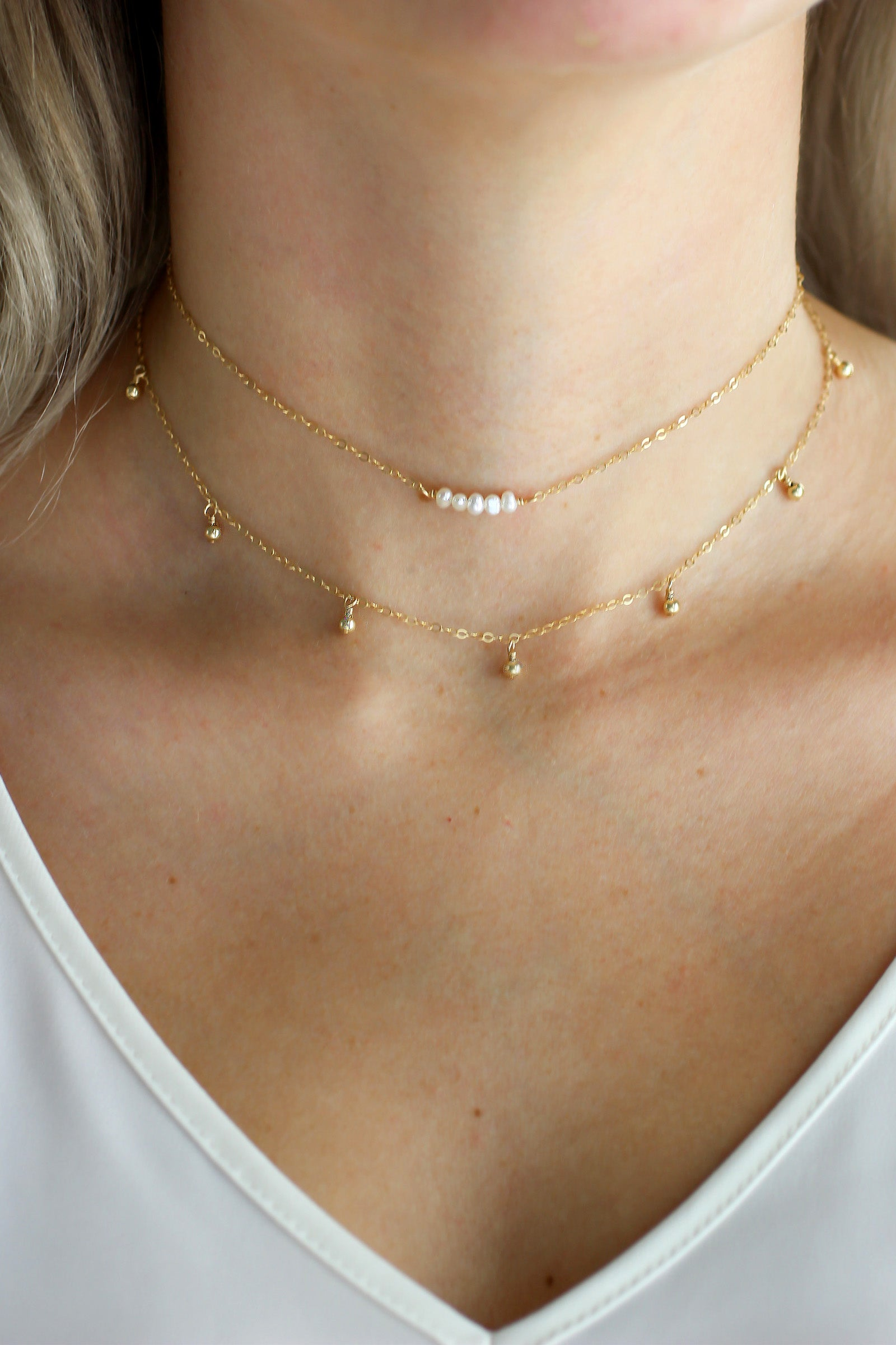 mothers day gift for Her Choker Necklace Gift for Her Dainty Pearl and Gold Choker Necklace Minimal Pearl Choker Layered Necklace