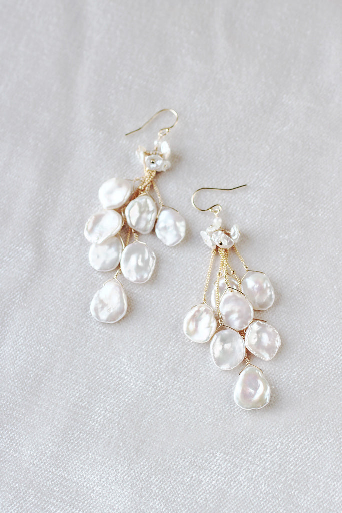 Keshi Pearl Waterfall Earrings